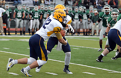 18 October 2014:  Sam Frasco hands off to Austin Chausse during an NCAA division 3 football game between the Augustana Vikings and the Illinois Wesleyan Titans in Tucci Stadium on Wilder Field, Bloomington IL