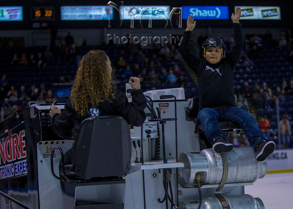 KELOWNA, CANADA - OCTOBER 22:  Orchard Park Zamboni Rider at the Kelowna Rockets game on October 22, 2017 at Prospera Place in Kelowna, British Columbia, Canada.  (Photo By Cindy Rogers/Nyasa Photography,  *** Local Caption ***