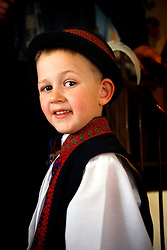 CZECH REPUBLIC MORAVIA BANOV 5APR10 - Portrait of a young boy dressed in folklore dress during traditional Easter Monday celebrations in Banov, Moravia, Czech Republic.jre/Photo by Jiri Rezac© Jiri Rezac 2010