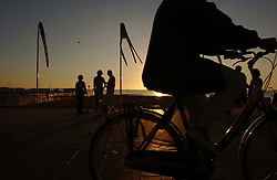 KNOKKE, BELGIUM - JULY-23-2005 -  Sunset on the North Sea in Knokke. (Photo © Jock Fistick)