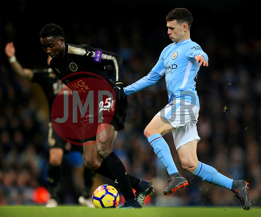 Wilfred Ndidi of Leicester City and Phil Foden of Manchester City - Mandatory by-line: Matt McNulty/JMP - 10/02/2018 - FOOTBALL - Etihad Stadium - Manchester, England - Manchester City v Leicester City - Premier League