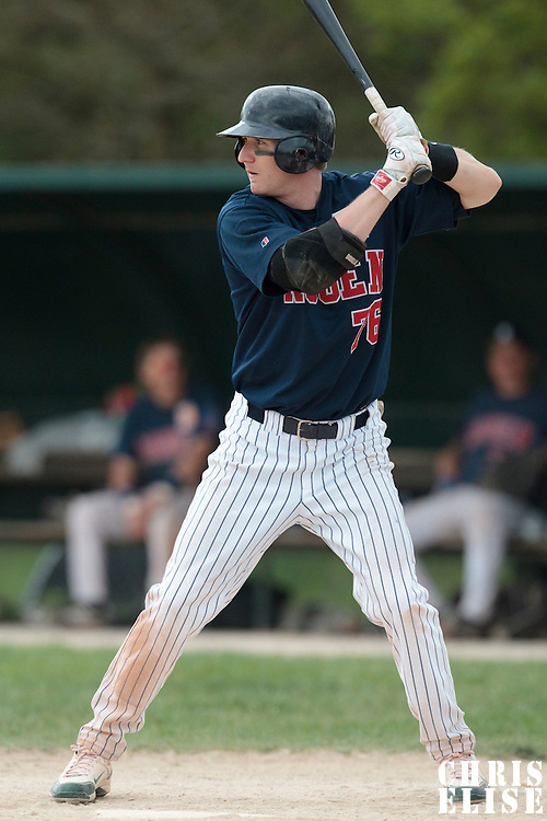 25 April 2010: Aaron Hornostaj of Rouen is seen at bat during game 2/week 3 of the French Elite season won 12-0 by Rouen over the PUC, at the Pershing Stadium in Vincennes, near Paris, France.