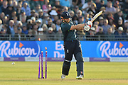 Jonny Bairstow of England is bowled by Junaid Khan of Pakistan during the third Royal London One Day International match between England and Pakistan at the Bristol County Ground, Bristol, United Kingdom on 14 May 2019.