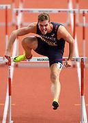 Mar 5, 2017; Belgrade, Serbia; Kevin Mayer (FRA) runs 7.88 in the heptathlon 60m hurdles during the 34th European Indoor Championships at Kombank Arena. Mayer won with a national record 6,479 points.  (Jiro Mochizuki/Image of Sport)