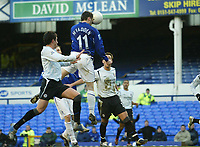 Photo: Aidan Ellis.<br /> Everton v Chelsea. The FA Cup. 28/01/2006.<br /> Everton's James McFadden heads in the first goal
