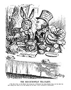 "The Mid-European Tea-Party. [""The March Hare and the Hatter were having tea; a Dormouse was sitting between them, and the other two were resting their elbows on it, and talking over its head."" - Alice's Adventures in Wonderland.] (Austrian Dormouse with sheet 'Independence' sits squashed between the Italian Mad Hatter Mussolini wearing his Empire Style hat and the German Hare Hitler)"