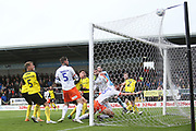Luton Town score a goal which is ruled out during the EFL Sky Bet League 1 match between Burton Albion and Luton Town at the Pirelli Stadium, Burton upon Trent, England on 27 April 2019.