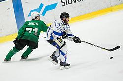 Nejc Brus of SZ Olimpija vs Luca Felicetti of Broncos during ice hockey match between HK SZ Olimpija and WSV Sterzing Broncos Weihenstephan (ITA) in Round #12 of AHL - Alps Hockey League 2018/19, on October 30, 2018, in Hala Tivoli, Ljubljana, Slovenia. Photo by Vid Ponikvar / Sportida