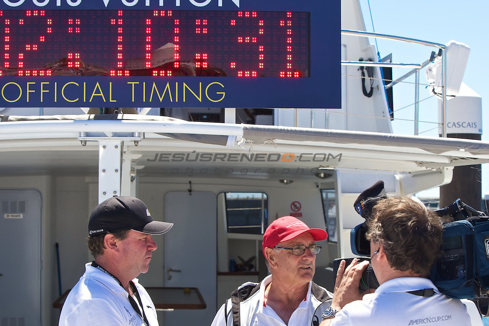 AC World Series,Cascais,Portugal,8/ 7/2011.Harold Bennett ,Director of On-Water Operations and Assistant Principal Race Officer, and John Craig, Principal Race Officer.