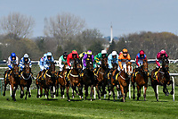 National Hunt Horse Racing - 2019 Randox Health Grand National Festival - Saturday, Day Three (Grand National Day)<br /> <br /> The entire field , in the 1.45 Gaskells Handicap Hurdle (Grade 3) (Class 1)<br /> at Aintree Racecourse.<br /> <br /> COLORSPORT/WINSTON BYNORTH
