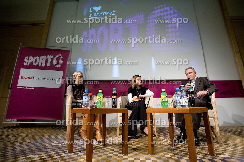 Dijana Majurec of Wrigley, Rinalda Klemencic of BrandBusinessSchool and Damjan Pintar of Unitur at Second day of 6th Sporto conference about Marketing in sport, on November 24, 2009, in Kongresni center Portus, Portoroz-Portorose, Slovenia. (Photo by Vid Ponikvar / Sportida)