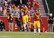 25 OCTOBER 2008: Iowa State defensive back Kennard Banks (7) celebrates a tackle for a loss in the first half of an NCAA college football game between Iowa State and Texas A&M, at Jack Trice Stadium in Ames, Iowa on Saturday Oct. 25, 2008. Texas A&M beat Iowa State 49-35.