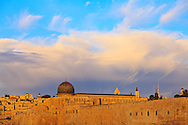 Al Aqsa mosque on the Temple Mount in the Old City of Jerusalem around sunrise. WATERMARKS WILL NOT APPEAR ON PRINTS OR LICENSED IMAGES.
