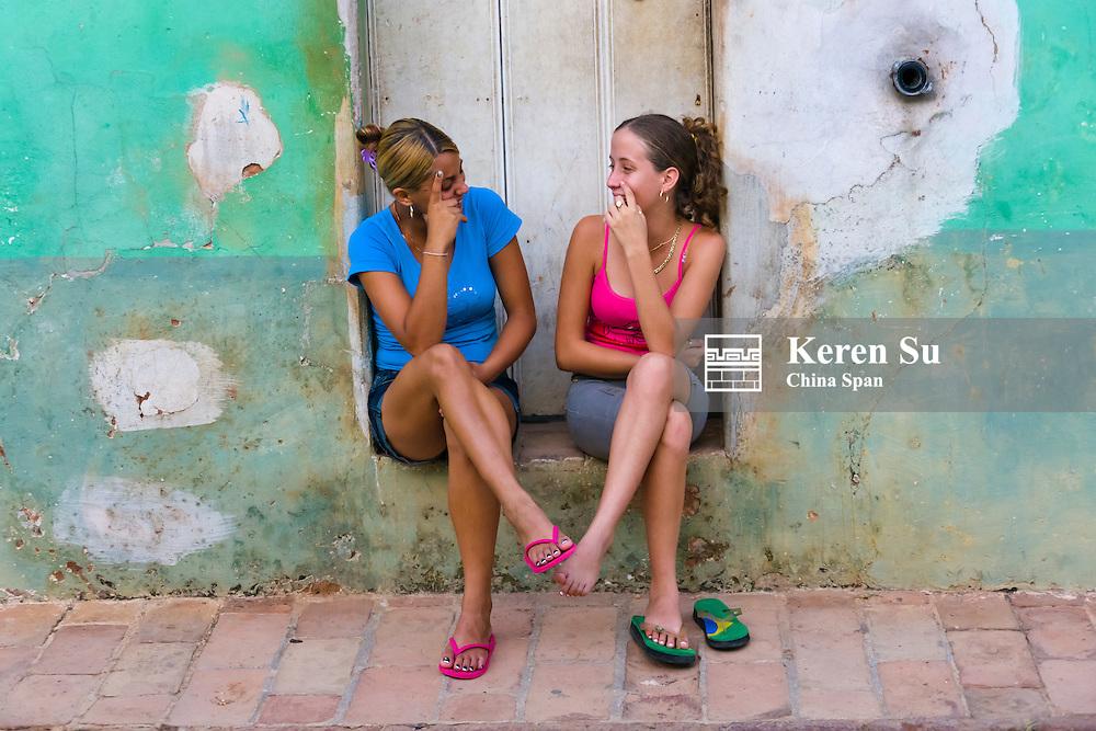 Teenagers on the street, Trinidad, Cuba