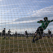 Newark FC Goalkeeper Clayton Hansen (1) makes a diving save during a regular season soccer match between Newark and Delcastle Thursday, Oct. 22, 2015 at Delcastle in Wilmington.