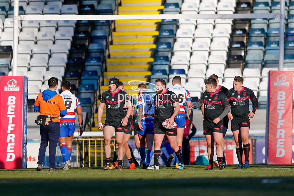 Halifax RLFC second row Simon Grix (12) scores a try  during the Betfred Championship match between Rochdale Hornets and Halifax RLFC at Spotland, Rochdale, England on 25 February 2018. Picture by Simon Davies.