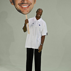 26 September 2008:  Hornets head coach Byron Scott holds a Peja-head sign during media day for the New Orleans Hornets at the New Orleans Arena in New Orleans, LA.