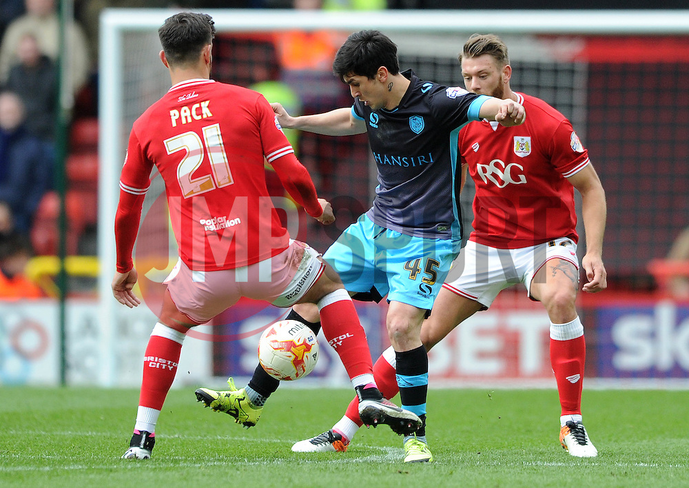 Fernando Forestieri of Sheffield Wednesday is closed down by Marlon Pack of Bristol City - Mandatory by-line: Dougie Allward/JMP - 09/04/2016 - FOOTBALL - Ashton Gate Stadium - Bristol, England - Bristol City v Sheffield Wednesday - Sky Bet Championship