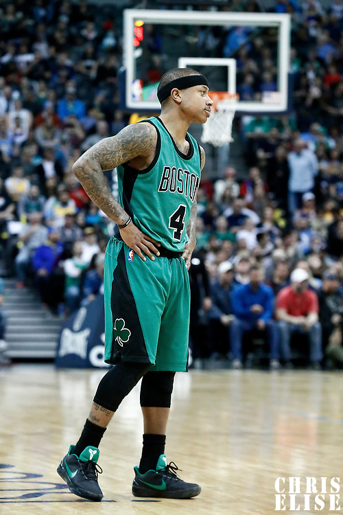 10 March 2017: Boston Celtics guard Isaiah Thomas (4) rests during the Denver Nuggets 119-99 victory over the Boston Celtics, at the Pepsi Center, Denver, Colorado, USA.