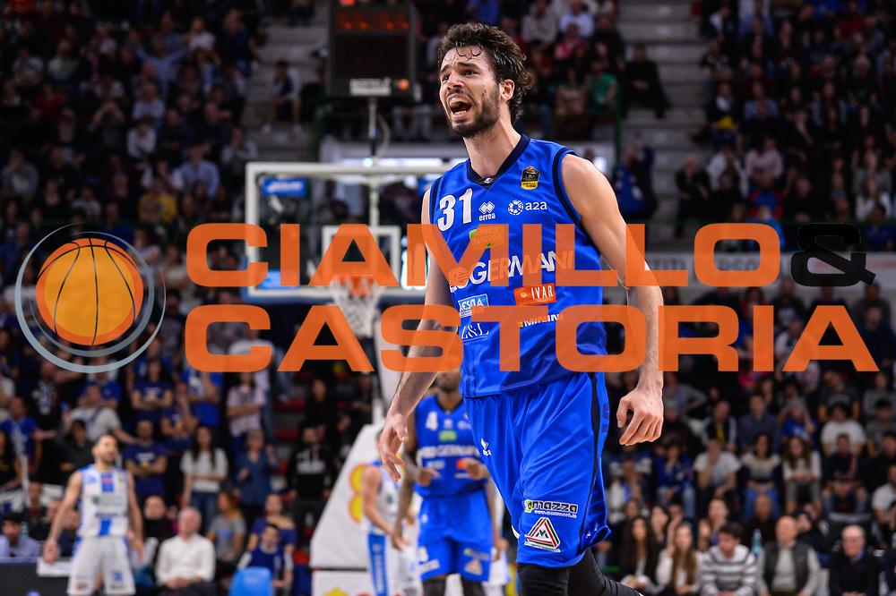 Michele Vitali<br /> Banco di Sardegna Dinamo Sassari - Germani Basket Leonessa Brescia<br /> Legabasket Serie A LBA PosteMobile 2017/2018<br /> Sassari, 08/04/2018<br /> Foto L.Canu / Ciamillo-Castoria