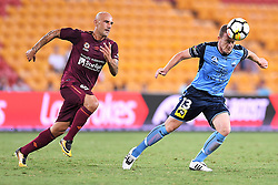 January 8, 2018 - Brisbane, QUEENSLAND, AUSTRALIA - Brandon O'Neill of Sydney (13, right) heads the ball during the round fifteen Hyundai A-League match between the Brisbane Roar and Sydney FC at Suncorp Stadium on Monday, January 8, 2018 in Brisbane, Australia. (Credit Image: © Albert Perez via ZUMA Wire)