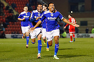 Korey Smith of Oldham Athletic celebrates scoring his first goal of the game to make it 1-1 during the Sky Bet League 1 match at the Matchroom Stadium, London<br /> Picture by David Horn/Focus Images Ltd +44 7545 970036<br /> 25/03/2014