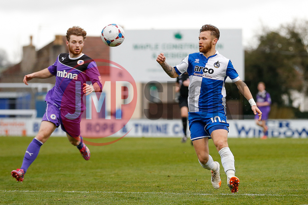 Matt Taylor of Bristol Rovers in action - Photo mandatory by-line: Rogan Thomson/JMP - 07966 386802 - 03/04/2015 - SPORT - FOOTBALL - Bristol, England - Memorial Stadium - Bristol Rovers v Chester - Vanarama Conference Premier.