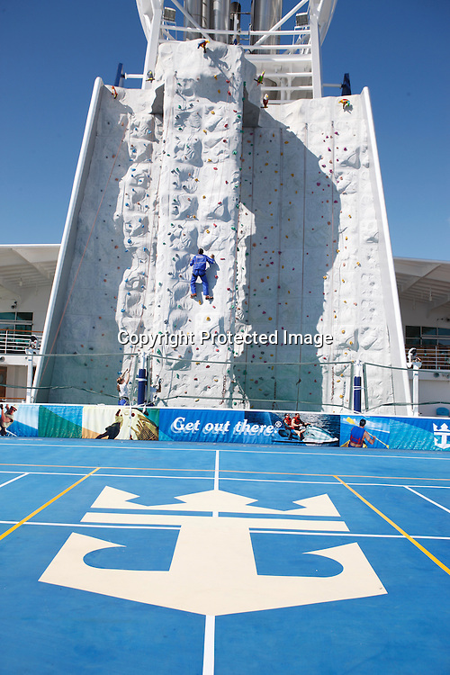 Royal Caribbean International's  Independence of the Seas, the world's largest cruise ship...Climbing wall