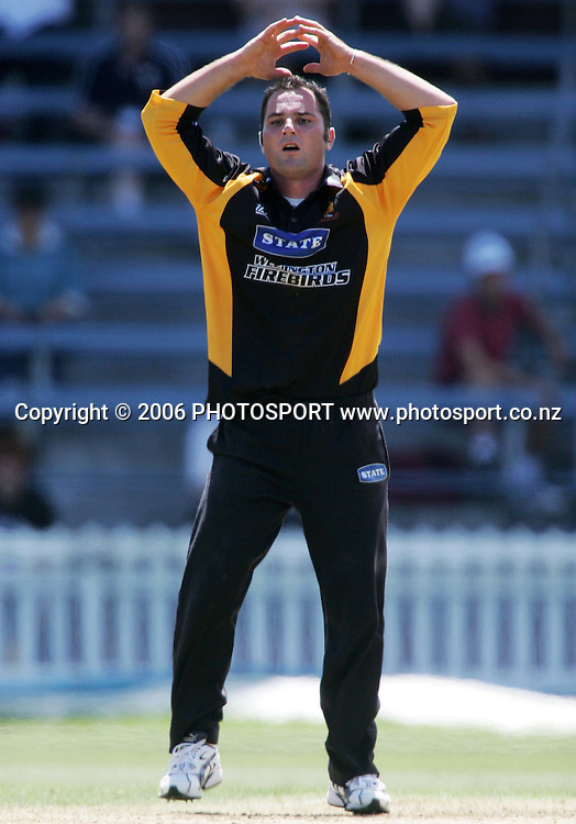 Wellington Firebirds spin bowler Luke Woodcock shows his frustration during the State Shield semi final between the State Wellington Firebirds and the State Auckland Aces held at the Basin Reserve in Wellington, New Zealand on Tuesday, 6 February, 2007. Photo: Tim Hales/PHOTOSPORT