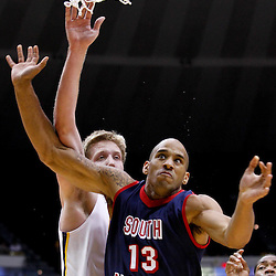 November 23, 2011; Baton Rouge, LA; LSU Tigers center Justin Hamilton (41) knocks the ball away from South Alabama Jaguars forward Mychal Ammons (13) during the first half of a game at the Pete Maravich Assembly Center.  Mandatory Credit: Derick E. Hingle-US PRESSWIRE