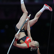 Lisa Ryzih, Germany, in action during the Women's Pole Vault Final at the Olympic Stadium, Olympic Park, during the London 2012 Olympic games. London, UK. 4th August 2012. Photo Tim Clayton