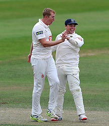 Sussex's Luke Wells celebrates the wicket of Somerset's Marcus Trescothick. - Photo mandatory by-line: Harry Trump/JMP - Mobile: 07966 386802 - 08/07/15 - SPORT - CRICKET - LVCC - County Championship Division One - Somerset v Sussex- Day Four - The County Ground, Taunton, England.