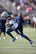 Dallas Cowboys wide receiver Lucky Whitehead (13) runs with the ball after catching a pass during the second day of the Dallas Cowboys 2016 NFL training camp football practice held on Sunday, July 31, 2016 in Oxnard, Calif. (©Paul Anthony Spinelli)