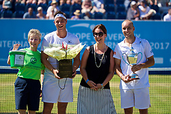 LIVERPOOL, ENGLAND - Sunday, June 18, 2017: Runner-up Marcus Willis (GBR), Liverpool Hope University sponsor and winner Steve Darcis (BEL) with the trophy after winning the Men's Final on Day Four of the Liverpool Hope University International Tennis Tournament 2017 at the Liverpool Cricket Club. (Pic by David Rawcliffe/Propaganda)