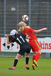 NEWPORT, WALES - Friday, April 1, 2016: Wales' captain Elise Hughes in action against the Republic of Ireland's Amy Boyle Car during Day 1 of the Bob Docherty International Tournament 2016 at Dragon Park. (Pic by David Rawcliffe/Propaganda)