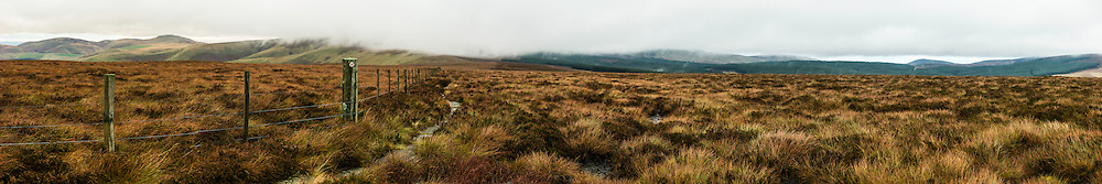 Butts Road, Pennine Way, Cheviot Hills, Yetholm, UK. 20th November 2015. Looking north east along the Pennine Way and the Anglo Scot Border in the Cheviot Hills.