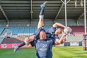 Louie Spence is lifted by Terry Hollands, British strongest man. Training starts for inaugural RUGBY AID 2015 charity match which takes place on Friday 4th September 2015 at the Twickenham Stoop. The celebrity charity game will be in aid of RUGBY FOR HEROES  of which Mike Tindall MBE is Patron. The charity raises funds and awareness through the sport of rugby, the fan community and the wider professional player network, to support military personnel who are making the transition back from military service to civilian life. The teams (England v's Rest of the World) include former international rugby players, celebrities and serving members of the armed forces. Harlequins Rugby , The Stoop, Twickenham, London UK, 02 Sept 2015