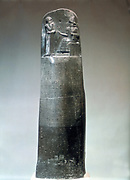 Stone stele inscribed with laws of Hammurabi, king of Babylon (1792-1750 BC) Hammurabi enthroned at top. Louvre, Paris