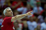 Andrea Anastasi trainer coach team of Poland during the 2013 CEV VELUX Volleyball European Championship match between Poland v Slovakia at Ergo Arena in Gdansk on September 22, 2013.<br /> <br /> Poland, Gdansk, September 22, 2013<br /> <br /> Picture also available in RAW (NEF) or TIFF format on special request.<br /> <br /> For editorial use only. Any commercial or promotional use requires permission.<br /> <br /> Mandatory credit:<br /> Photo by © Adam Nurkiewicz / Mediasport