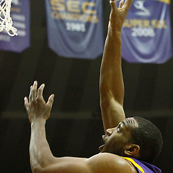November 12, 2011; Baton Rouge, LA; LSU Tigers forward Storm Warren (24) shoots against the Nicholls State Colonels during the first half of a game at the Pete Maravich Assembly Center.  Mandatory Credit: Derick E. Hingle-US PRESSWIRE