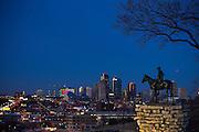 KANSAS CITY, MO:  The Scout Statue overlooking Kansas CIty, Missouri