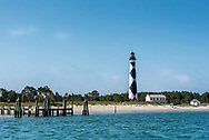 View of Cape Lookout Lighthouse from the water arriving by Harkers Island Ferry.