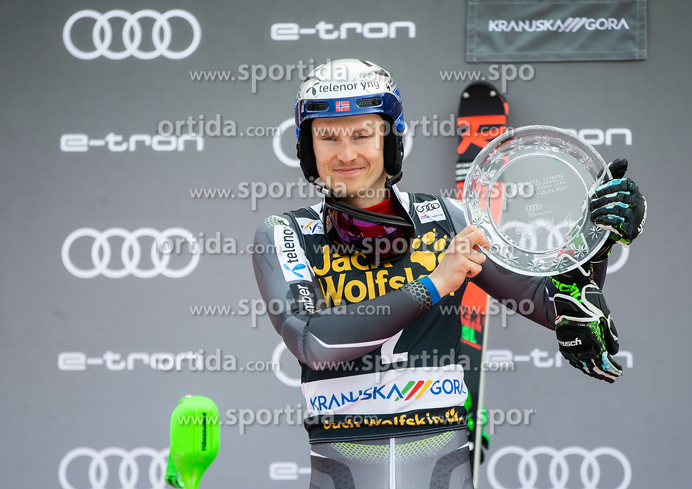 Winner in Vitranc overall classification KRISTOFFERSEN Henrik of Norway celebrates at trophy ceremony after the Audi FIS Alpine Ski World Cup Men's Slalom 58th Vitranc Cup 2019 on March 10, 2019 in Podkoren, Kranjska Gora, Slovenia. Photo by Matic Ritonja / Sportida
