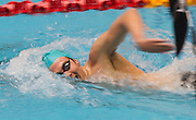 Matthew Stanley of the Aqua Knights team competes in the 16+ Men's 400m Freestyle race during the Senior Zonal Championship at the Wellington Regional Aquatic Centre in Kilbirnie in Wellington on Friday the 4th of October 2013. Photo by Marty Melville/www.photosport.co.nz