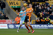 Wolverhampton Wanderers midfielder Conor Coady controls the ball watched by Derby County midfielder Jacob Butterfield during the Sky Bet Championship match between Wolverhampton Wanderers and Derby County at Molineux, Wolverhampton, England on 27 February 2016. Photo by Alan Franklin.