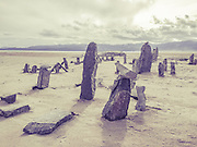 Abstract, stonehenge-like, rock formations on the north shore of Flathead Lake