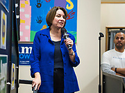19 JANUARY 2020 - DES MOINES, IOWA: US Senator AMY KLOBUCHAR (D-MN) speaks during a campaign appearance at Urban Dreams in Des Moines Sunday night. Sen. Klobuchar brought her presidential campaign to Urban Dreams, a community empowerment center in central Des Moines. Iowa hosts the first event of the presidential selection process in February. The Iowa Caucuses are Feb. 3, 2020.         PHOTO BY JACK KURTZ
