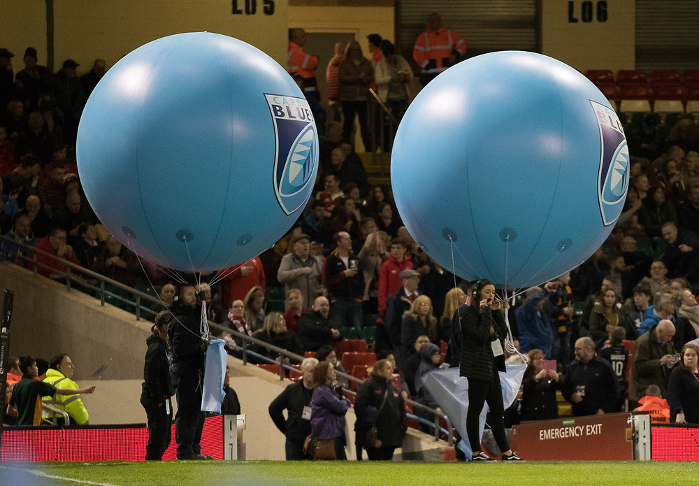 A general view of Principality Stadium balloons with Cardiff Blues branding<br /> <br /> Photographer Simon King/Replay Images<br /> <br /> Guinness PRO14 Round 21 - Cardiff Blues v Ospreys - Saturday 28th April 2018 - Principality Stadium - Cardiff<br /> <br /> World Copyright © Replay Images . All rights reserved. info@replayimages.co.uk - http://replayimages.co.uk
