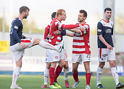 Rory Loy after Hamilton's Ziggy Gordon tacklied Falkirk's Conor McGrandles.<br /> Falkirk 1 v 1 Hamilton, Scottish Premiership play-off semi-final first leg, played 13/5/2014 at the Falkirk Stadium.