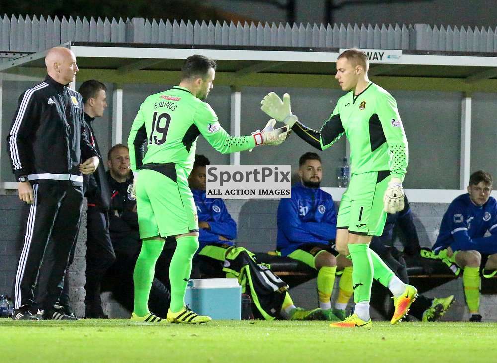 Scott Gallacher goes of injured and on comes goal keeping coach Jamie Ewings during the Dumbarton v Stranraer Irn Bru Cup round three 06 October 2017<br /> <br /> <br /> <br /> <br /> <br /> (c) Andy Scott | SportPix.org.uk